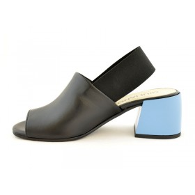 Premium buty damskie skórzane licowe na niebieskim obcasie GIULIANO G-2007
