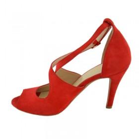 Sandały damskie ze z naturalnej skóry zamszowej w soczystej czerwieni 1739 115 czerwony