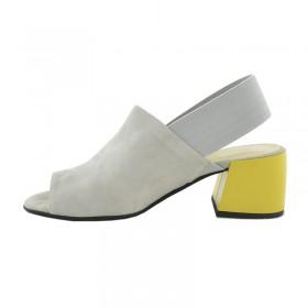 Premium buty damskie zamszowe szare na zółtym obcasie GIULIANO G-2007