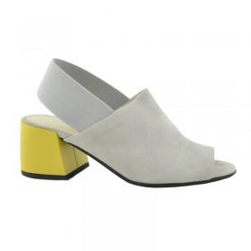 cdf49fdf Premium buty damskie zamszowe szare na zółtym obcasie GIULIANO G-2007 ...