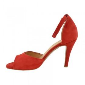 Sandały skórzane na obcasie słupkowym odkryte palce 1567 czerwony zamsz