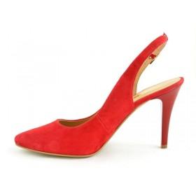 Sandały damskie zamszowe czerwone na słupku z otwartą piętą 1462 115 czerwony
